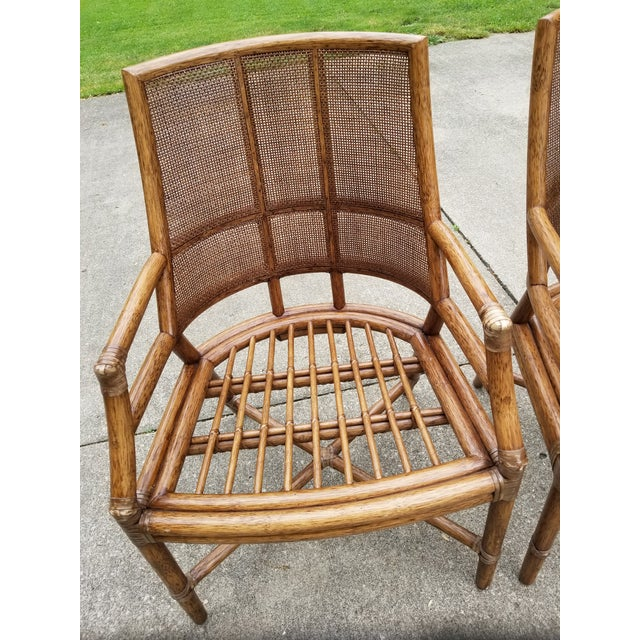 McGuire Rattan Cane Lounge Arm Chairs - a Pair - Image 6 of 8