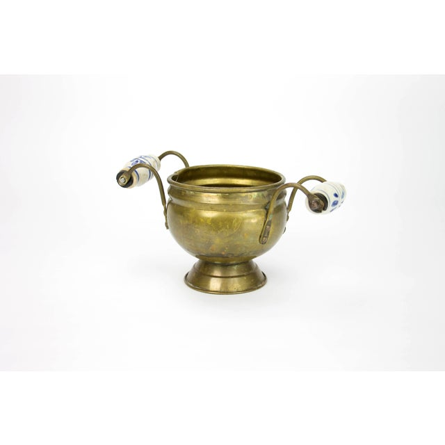 Brass Cache Pot with Delft Ceramic Handles - Image 2 of 3