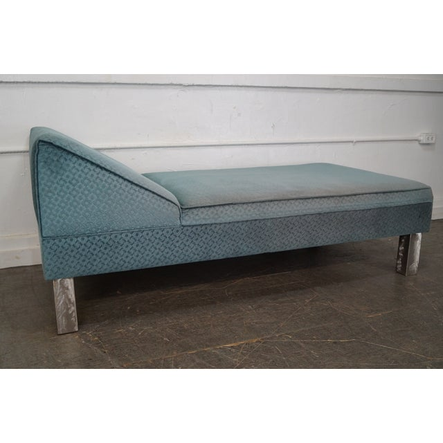 Studio Crafted Brushed Steel Framed Upholstered Chaise Lounge - Image 9 of 10