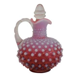 """1950s Fenton Cranberry Glass Opalescent Hobnail 4 1/4"""" Cruet For Sale"""