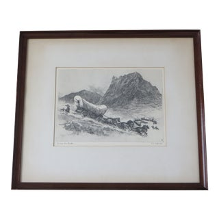 "Early 20th Century Antique R.H. Palenske ""Joining the Circle"" Original Etching Print For Sale"