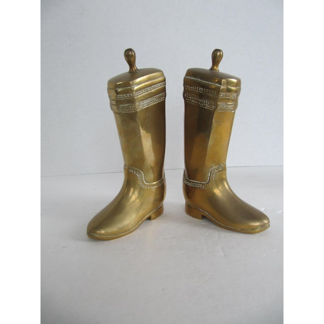 Vintage Brass Equestrian Boot Bookends - A Pair - Image 3 of 9