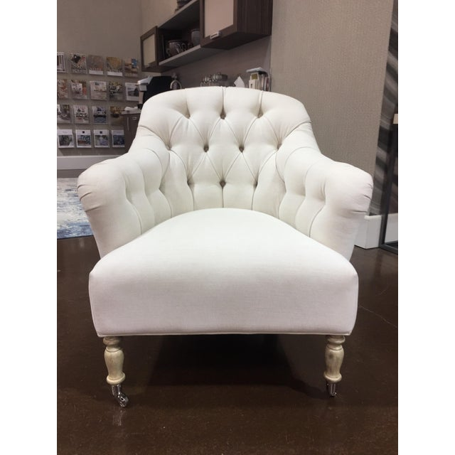 Textile Traditional Clarendon White Tufted Chair For Sale - Image 7 of 7
