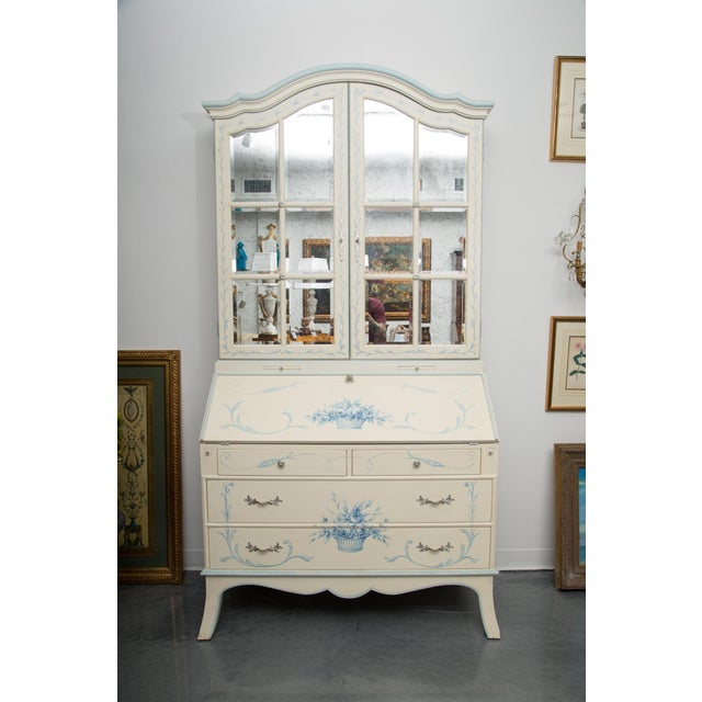 Custom Hand-Painted Secretary Desk with Mirrored Doors For Sale - Image 10 of 10