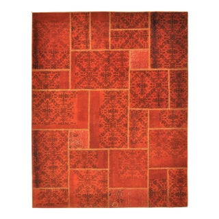 "Turkish Over-Dyed Red Patchwork Area Rug - 6' X 7'7"" For Sale"