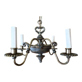 Small French Antique Pewter Chandelier For Sale