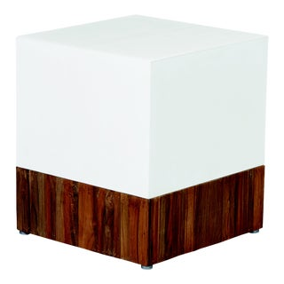 Magic Cube Concrete Outdoor Accent Stool with Teak Base, White For Sale