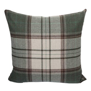 FirmaMenta Italian Green Brown and Cream Tartan Plaid Sustainable Wool Pillow For Sale
