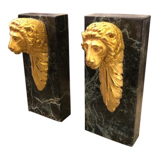 Pair of Unusual Antique Gilt Bronze Lion Architectural Fragment Bookends For Sale