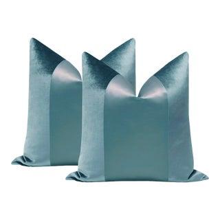 "22"" Cerulean Blue Velvet & Silk Panel Pillows - a Pair For Sale"