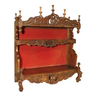Antique French Walnut Wood Standing Plate Rack or Estanier From Provence For Sale