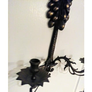 A Pair Large Wrought Iron Grape Leaf 2 Candle Wall Sconce Candelabras Preview