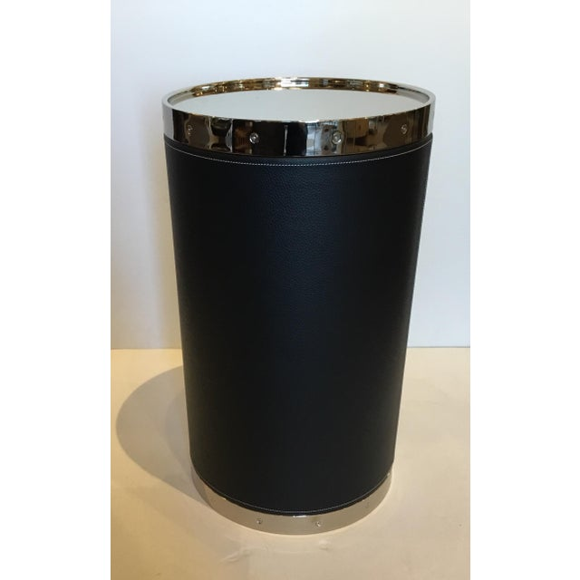2010s Modern Black Leather and Nickel Barrel Side Table For Sale - Image 5 of 5