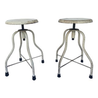 1960s Industrial Metal Drafting Stools - a Pair For Sale