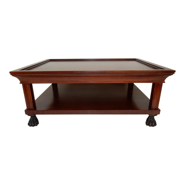 Traditional Two Tier Mahogany Coffee Table by Ralph Lauren 50 Inches For Sale