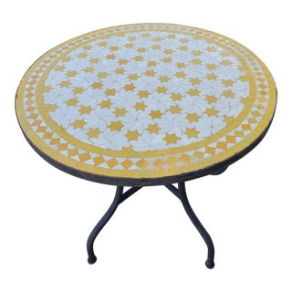 White / Yellow Moroccan Mosaic Table For Sale