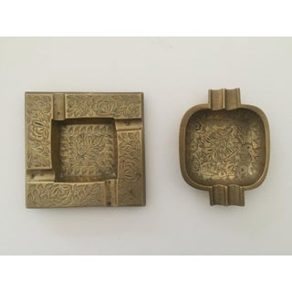 Vintage Mid Century India Solid Brass Etched Design Ashtrays - Set of 2 Preview
