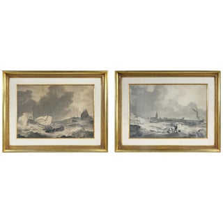Pair of Marine Gouaches by Anthony Woldorf For Sale