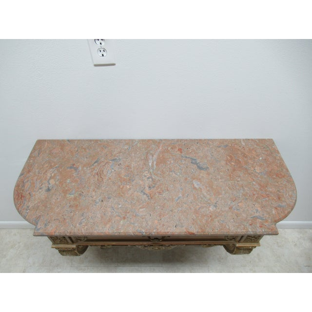 Early French Victorian Marble Top Wall Hall Console Server Table For Sale - Image 4 of 13