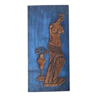 Original Vintage Mid Century Modern Classical Nude Figure Carved Wood -Wood Block For Sale