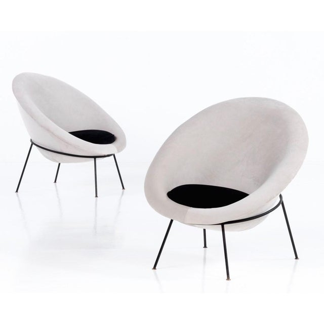1950s Vintage Velvet and Lacquered Metal Egg Chairs- A Pair For Sale - Image 10 of 10