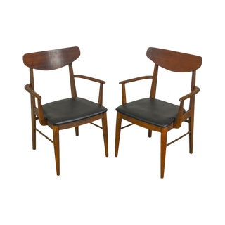 Danish Modern Style Mid Century Vintage Walnut Pair of Arm Chairs For Sale