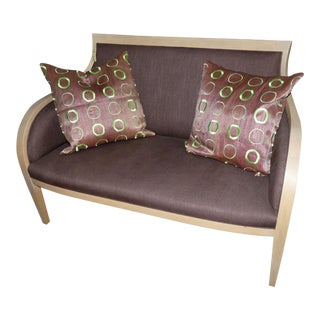 Light Ash Wood Settee With Linen Upholstery For Sale