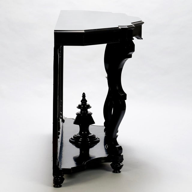 Italian Ebonised Mahogany Console with Mirrored Back For Sale - Image 5 of 10