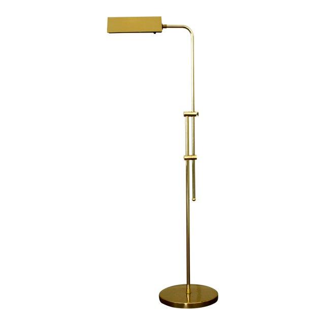 1970s Industrial Brass Pharmacy Floor Lamp For Sale