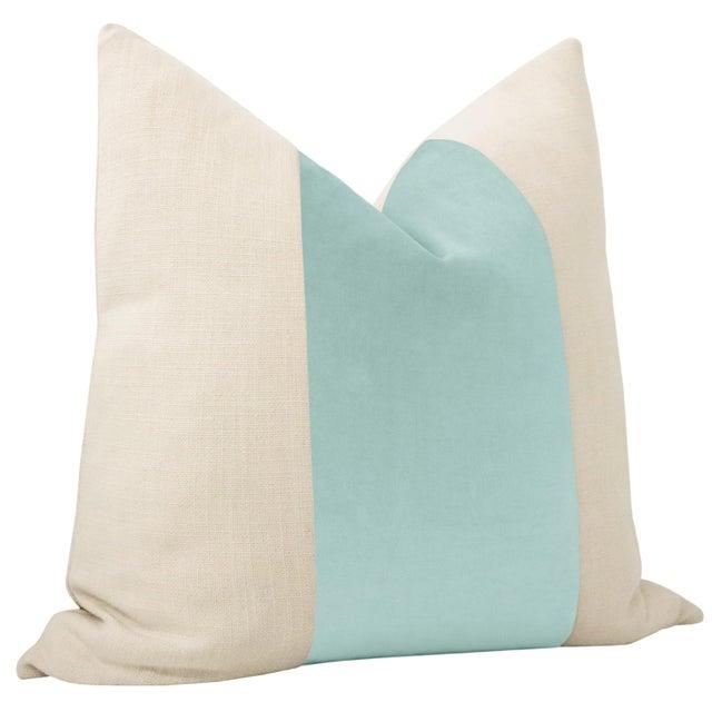 "Contemporary 22"" Sky Blue Velvet Panel & Linen Pillows - a Pair For Sale - Image 3 of 5"