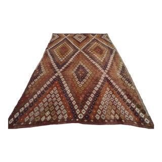 "Turkish Handmade Embroidered Wool Kilim Rug-2'8'x6'8"" For Sale"