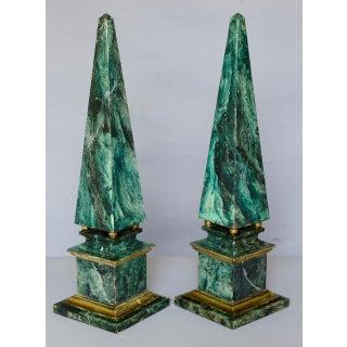 Faux Painted Wooden Obelisks - a Pair Preview