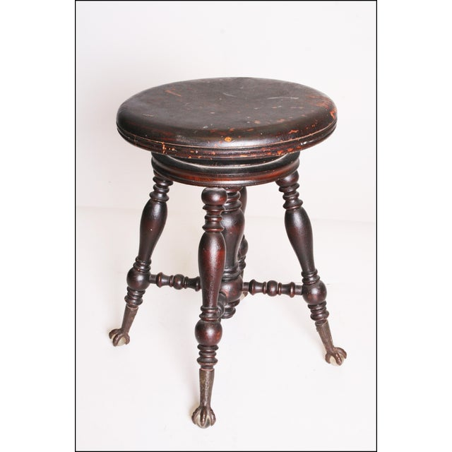 Antique Victorian Wood Adjustable Swivel Piano Stool - Image 2 of 11