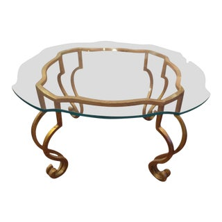Gilt Iron & Scalloped Glass Coffee Table For Sale