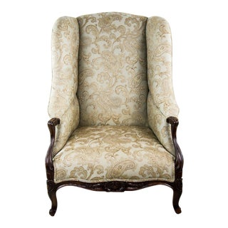 19th C. French Louis XV Style Low Bergere Chair