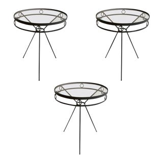 Mid Century Wrought Iron & Glass Garden Cafe Tables - Set of 3 For Sale