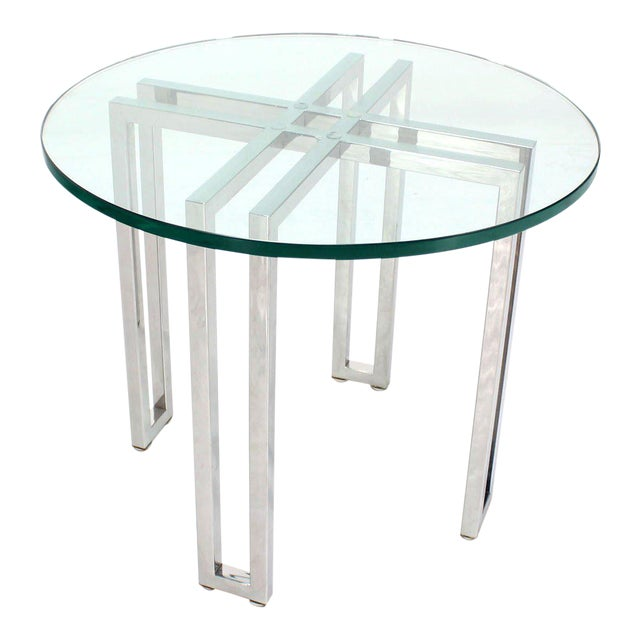 Mid Century Modern Round Chrome Base And Glass Top Side Table For