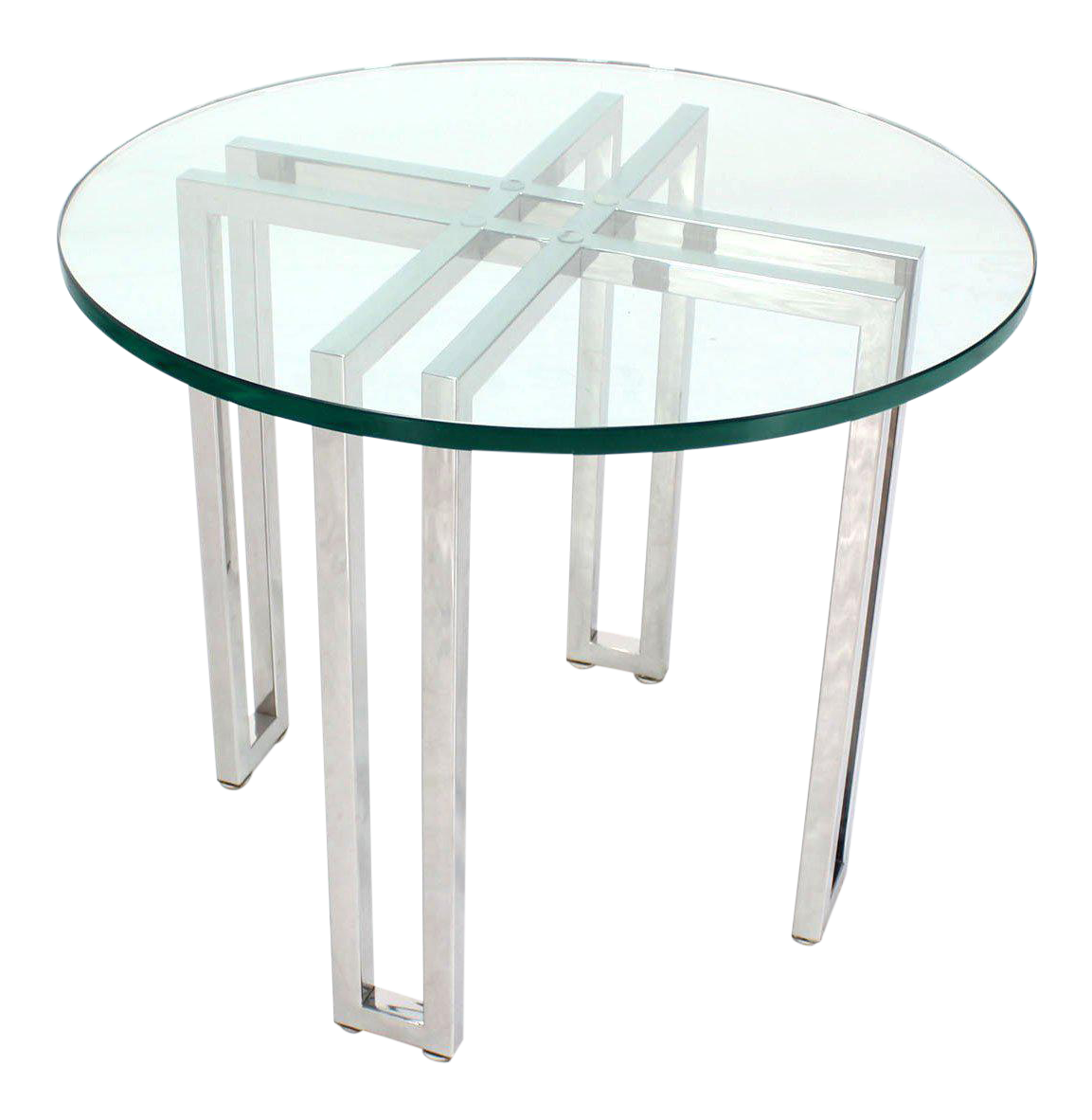 Mid Century Modern Round Chrome Base And Glass Top Side Table   Image 1