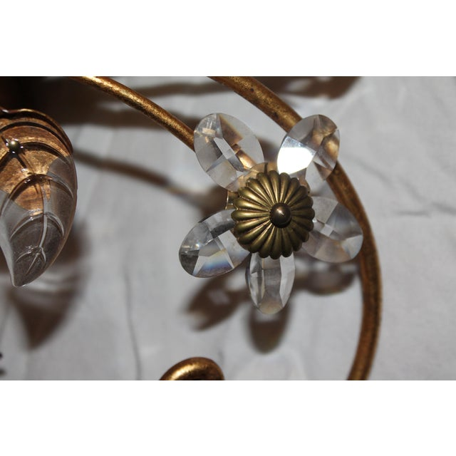 Gold 1960s Vintage Maison Baguès 4-Light Flush Mount Gilt Tole/ Crystal Ceiling Fixture/ Chandelier For Sale - Image 8 of 13