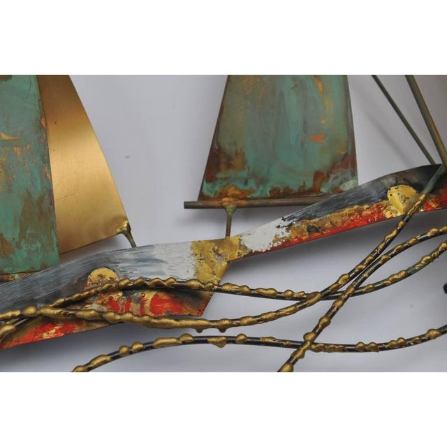 Signed and dated Curtis Jere` (Curtis Freiler and Jerry Fells) racing sailboats wall sculpture. Brass and copper with...