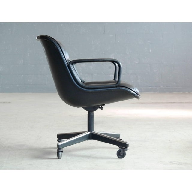Charles Pollock Charles Pollock Executive Chair for Knoll International in Black Leather For Sale - Image 4 of 7