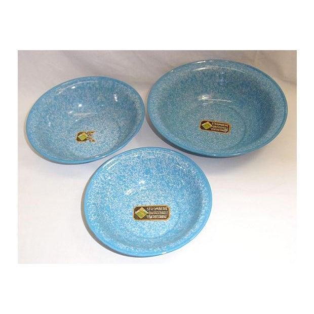 Vintage Light Blue German Enamel Bowls - Set of 3 - Image 3 of 4