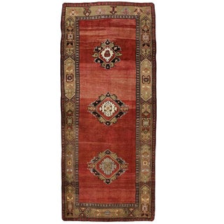 Vintage Turkish Oushak Rug With Traditional Modern Style, Wide Hallway Runner