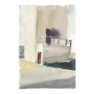 "Ferdinanda Florence ""Vfd 5"" Industrial Building Landscape Watercolor Painting For Sale"