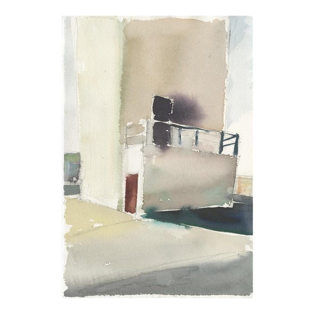 "Ferdinanda Florence ""Vfd 5"" Industrial Building Landscape Watercolor Painting For Sale"