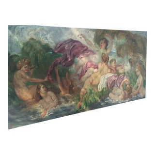 Ladies Bathing Large Oil Painting on Board For Sale