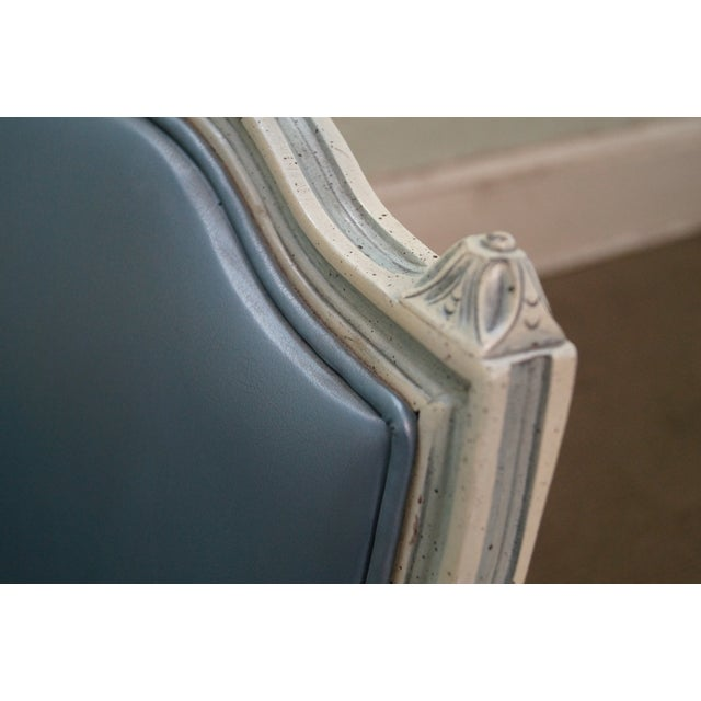 Blue Hollywood Regency Louis XVI Painted Frame Settee For Sale - Image 8 of 10