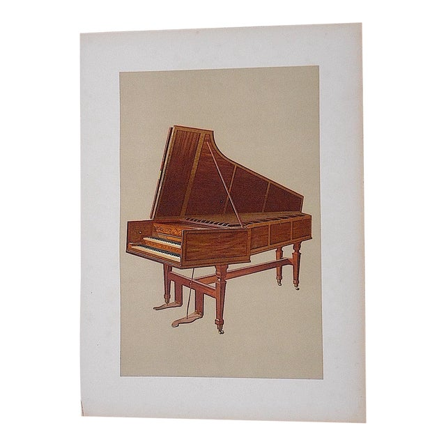 Antique Musical Instruments Lithograph,Harpsicord For Sale