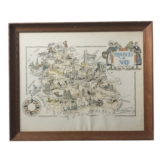 1951 Jacques Lizou Provinces Du Nord France Framed Map For Sale