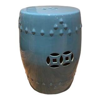 Solid Blue Ceramic Garden Stool For Sale